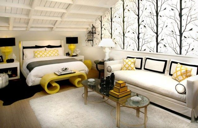 Yellow, White And Black Bedroom Home Design Ideas