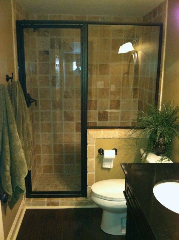 Contemporary Brown And Black Small Bathroom