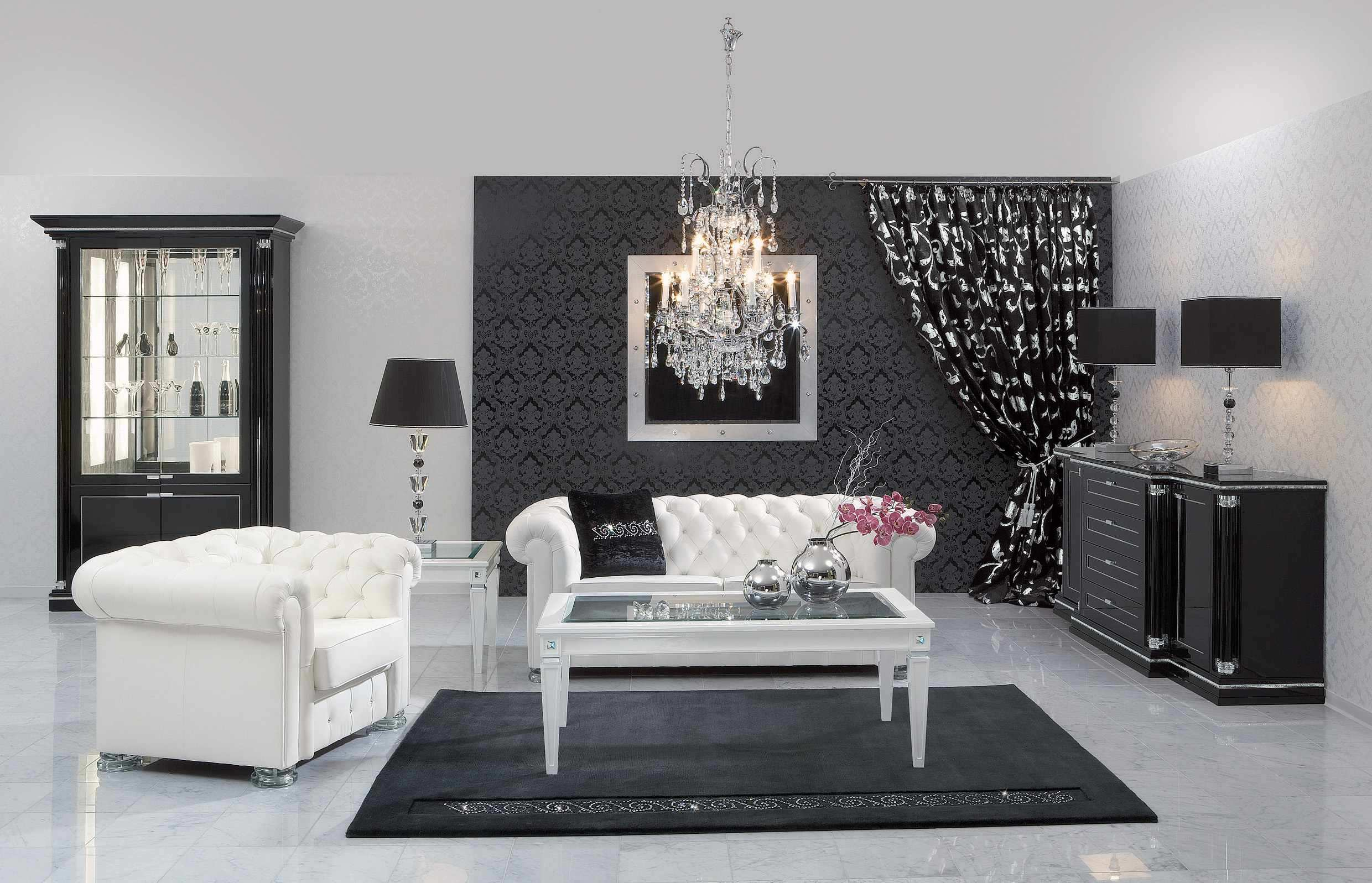 Black And White Inspiring Contemporary Living Room