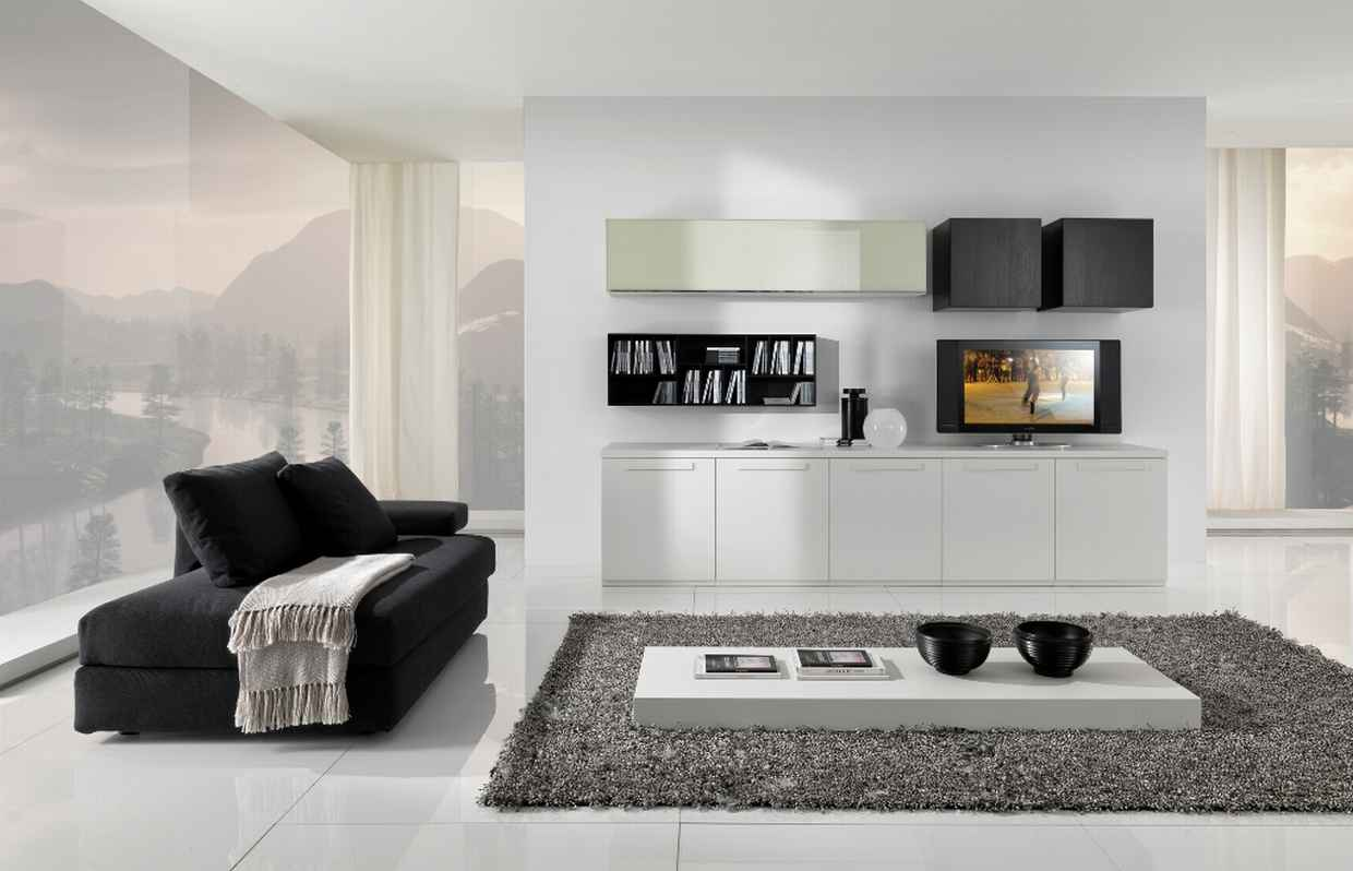 modern contemporary inspire black and white living room | design pics