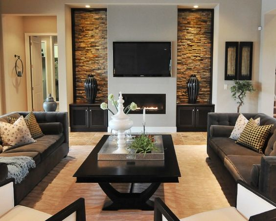 Black, White And Brown Living Room Design Idea