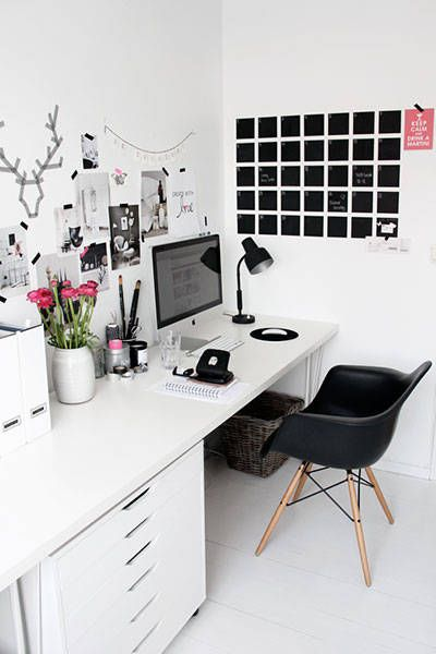 Modern Black And White Desk In Bedroom