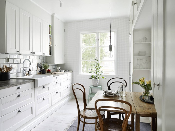 All White Modern Beautiful Kitchen With Rustic Inspiration