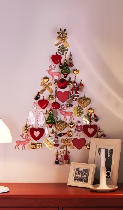 Alternative Wall Christmas Tree Made With Ornaments