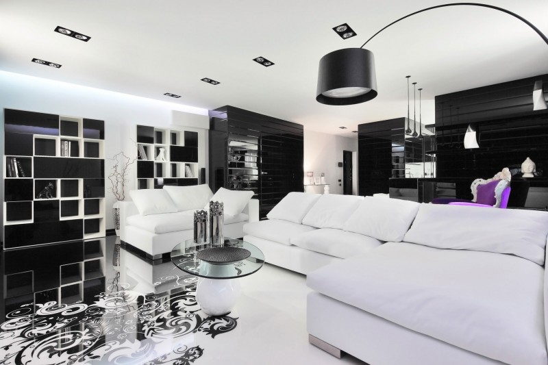 Modern Contemporary Inspire Black And White Living Room Design Pics
