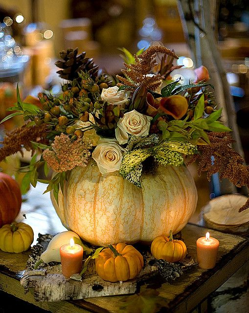 Beautiful Pumpkins And Flowers Centerpiece for Thanksgiving Table