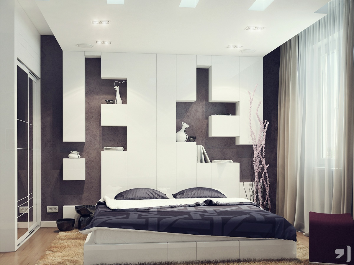 Bedroom Storage Modern Headboard Idea For Small Bedromm ...