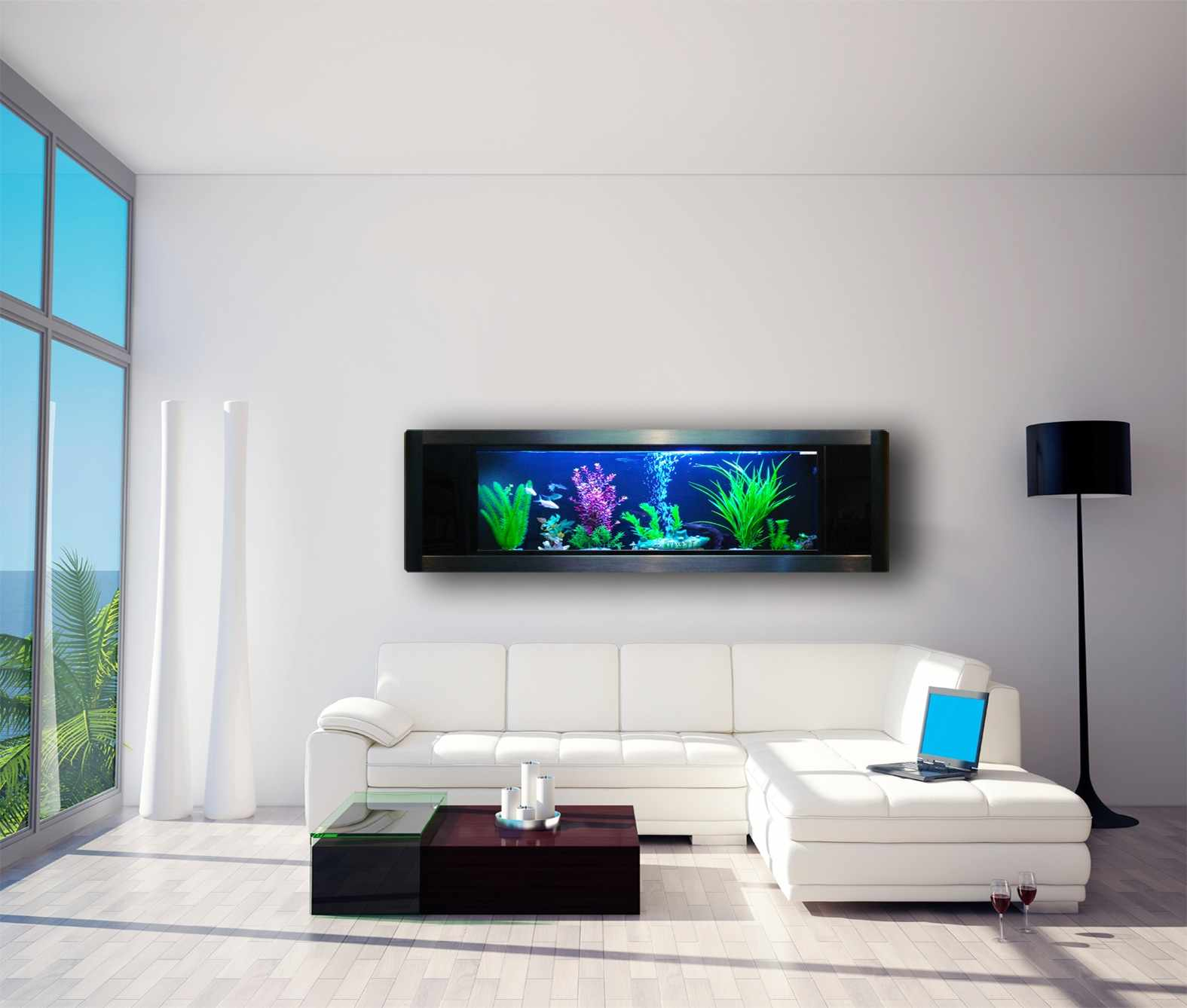 Chic Wall Aquarium Design For Living Room