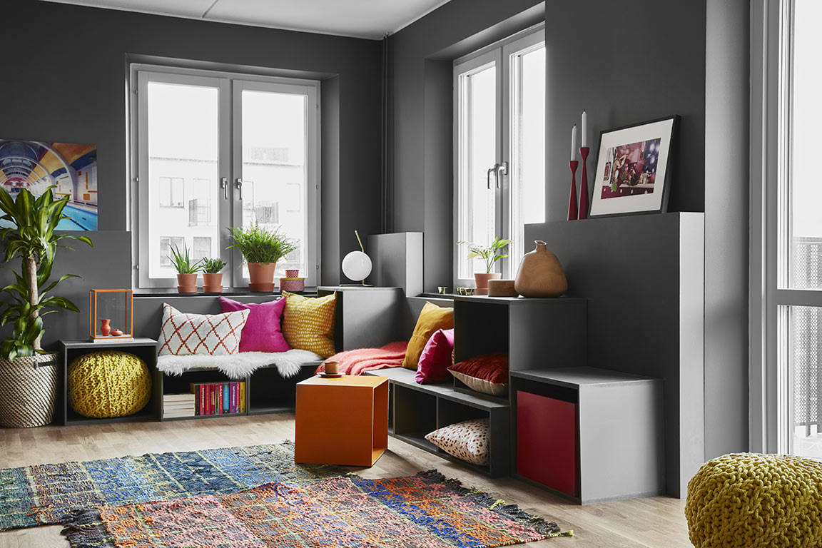 Colorful Living Room With Gray Walls