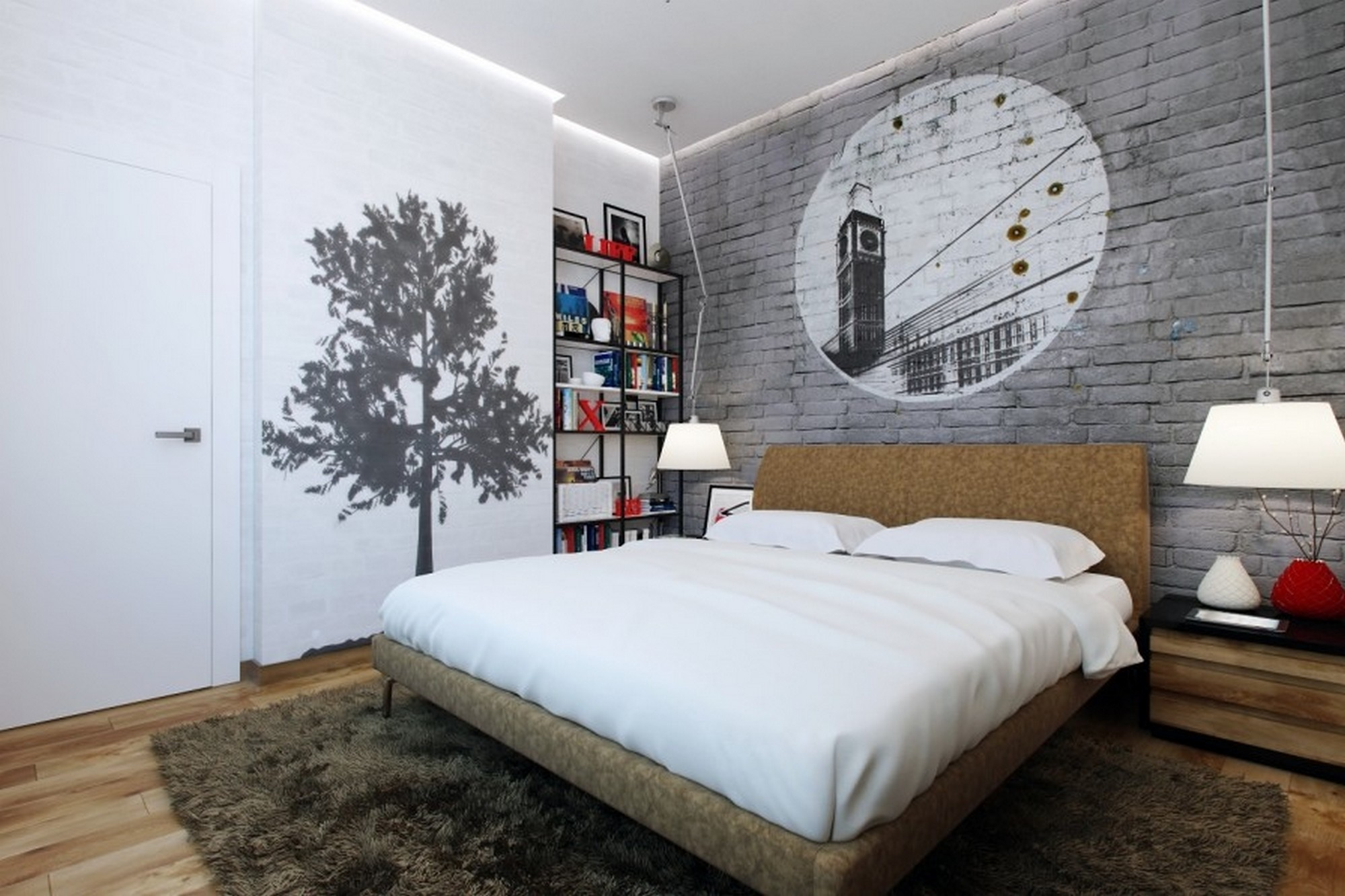 Bedroom wall decorations modern - Contemporary Bedroom Brick Walls Decorating Idea