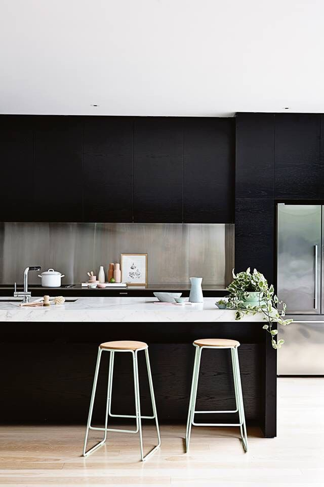 Contemporary Kitchen With Black Cabinets