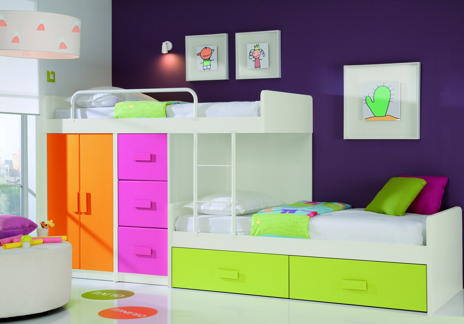 Contemporary Orange Pink And Kids Bedroom Furniture