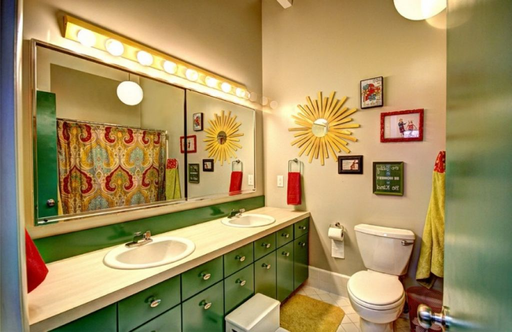 Cool Green And Yellow Color Scheme For Kids Bathroom