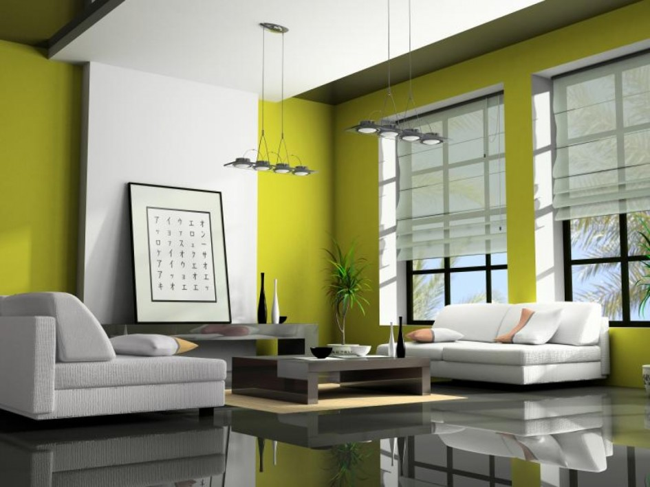 Elegant Japanese Living Room Design With White And Green Shades