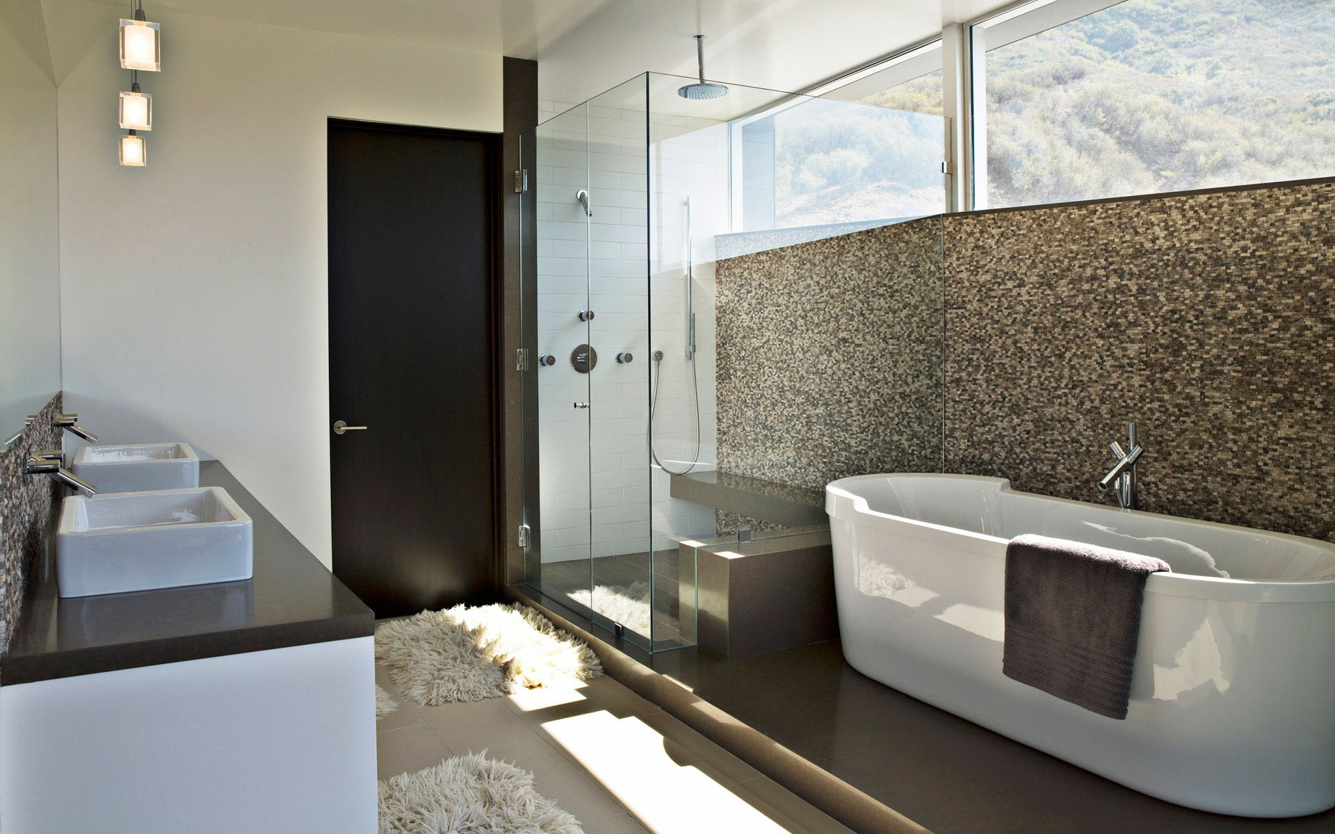 Contemporary Bathroom Wallpaper Home Design Ideas | Design ...