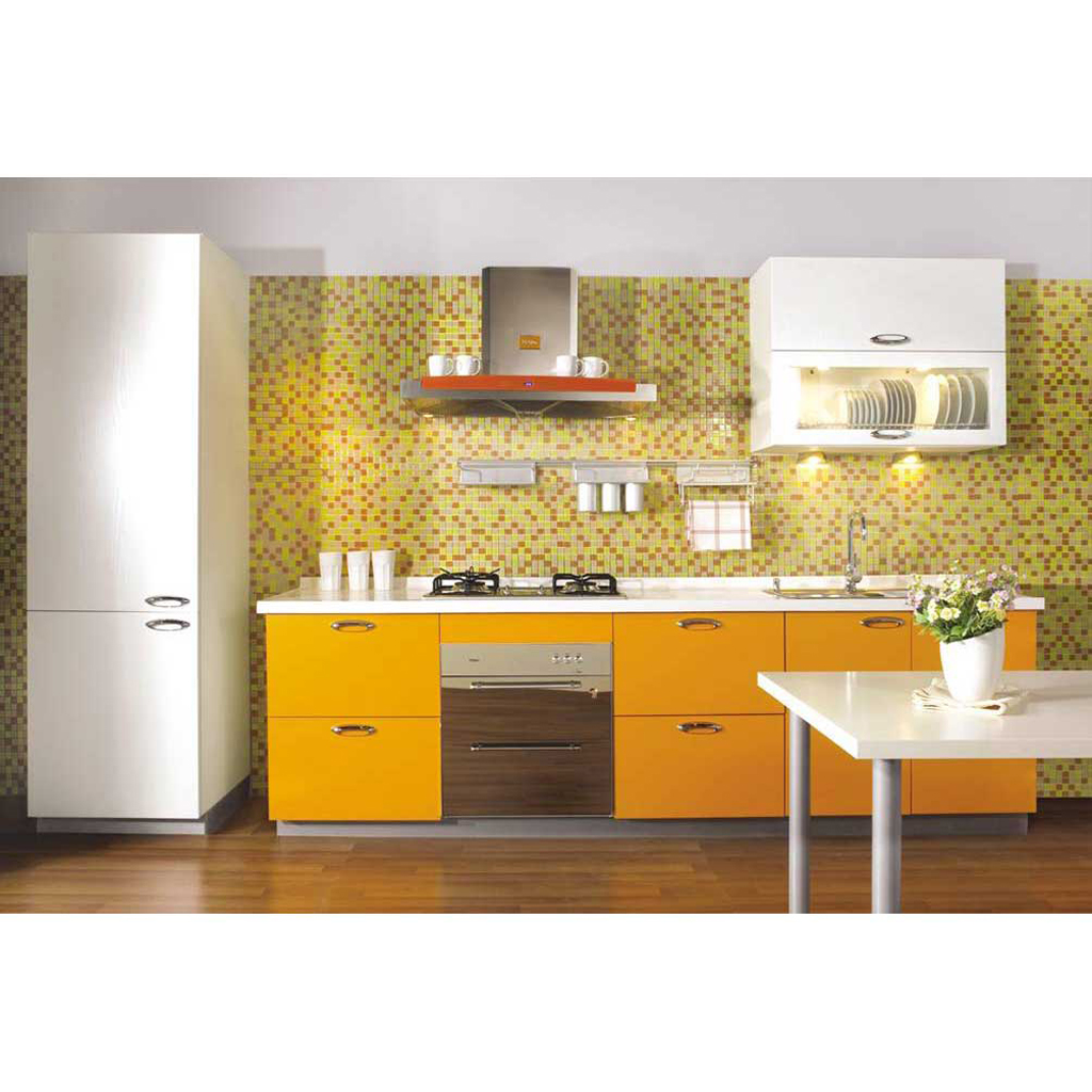 Glossy Yellow Cabinets, White Countertop And Yellow Tiles For Modern Kitchen