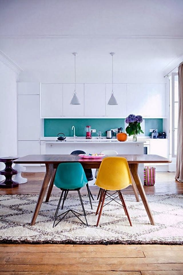 Great Colorful Dining Room And Kitchen Interior Design