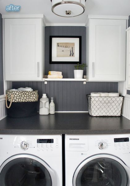 Great Laundry Room Idea With Counter Over The Front Loaders