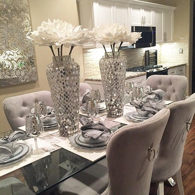 Luxurious Silver And Grey Dinning Table Idea
