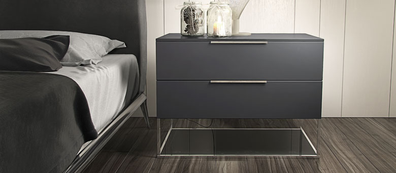 Beautiful Grey Contemporary Nightstand Design Idea