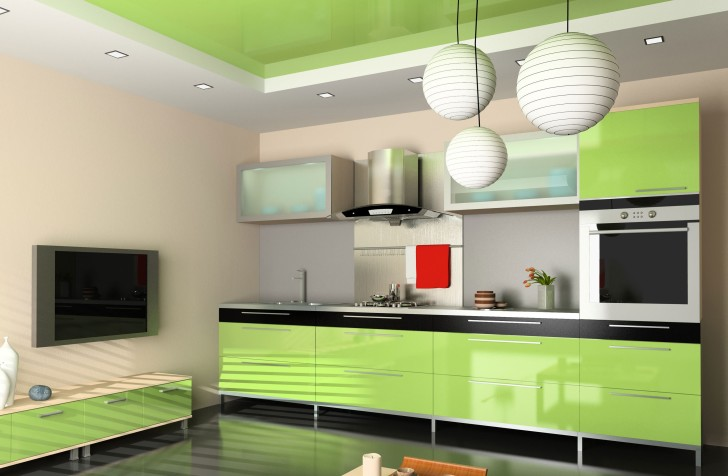 Modern Green Color For Your Kitchen Cabinets
