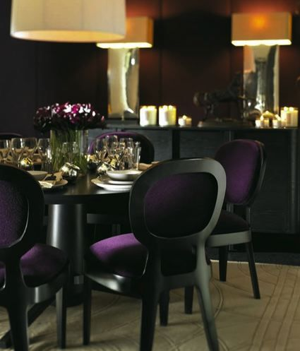Purple And Black Dining Room Design With Round Table