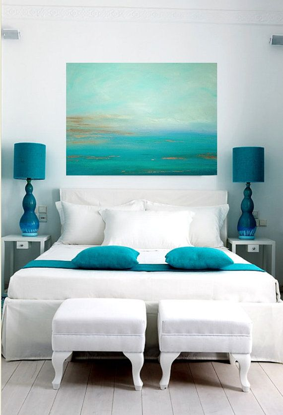Turquoise Ocean Abstract Original Painting For Bedroom