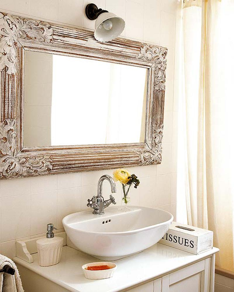 Bright Bathroom Mirror Desaign Ideas Inspiration Unique Antique Wood Framed For Your