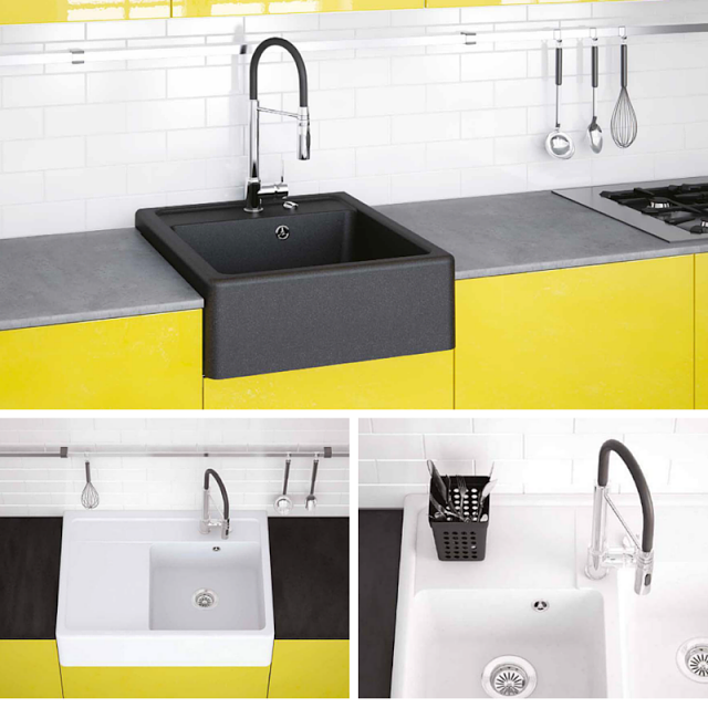 Black Farmhouse Kitchen Sink For Your Black And Yellow Kitchen