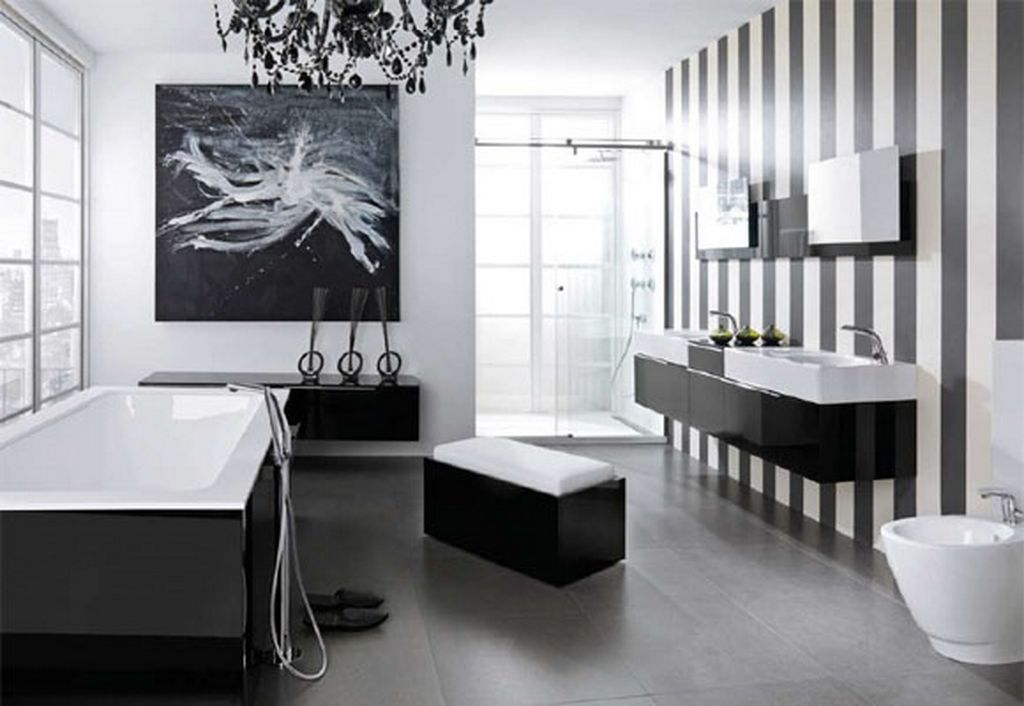 Ultra Modern Violet Bathroom Design Beautiful Black And White Contemporary  Bathroom Idea