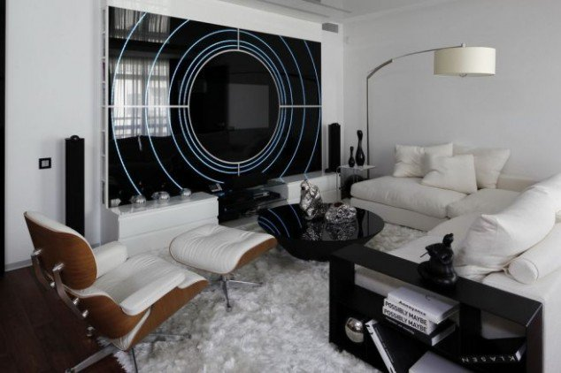 Wonderful Contemporary Inspiring Black And White Living Room