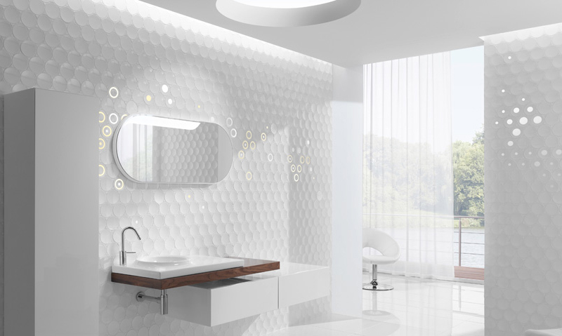 Contemporary bathroom wallpaper home design ideas design pics - Modern bathroom wall tile design ideas ...