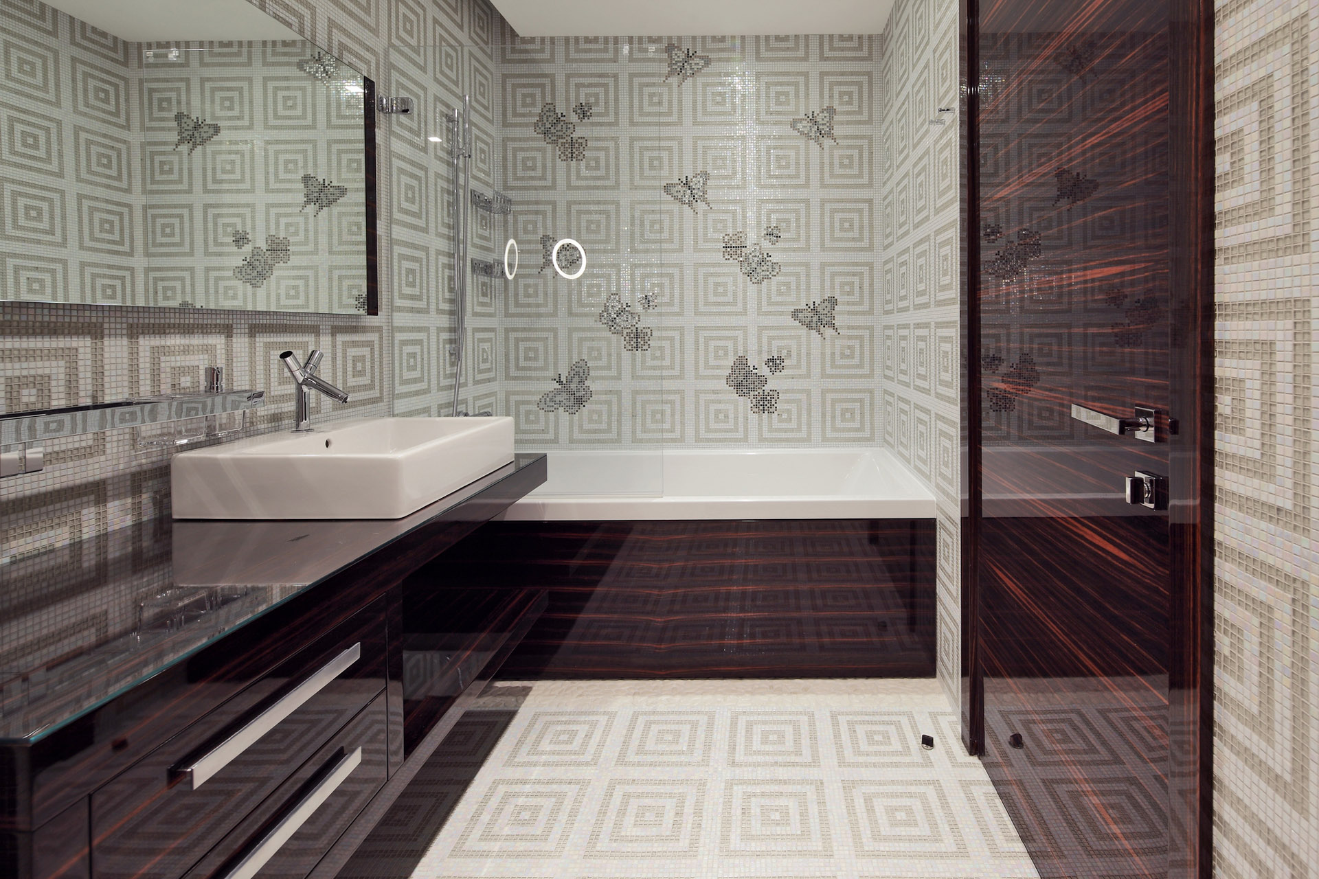 Contemporary bathroom wallpaper home design ideas design for Modern bathroom wallpaper