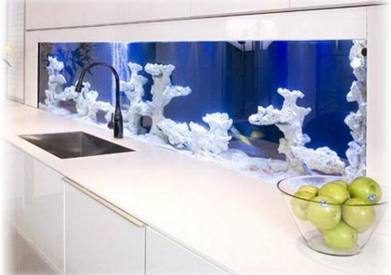 Amazing Home Wall Aquarium Design Idea
