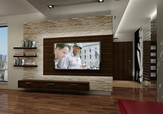 Creative Brown Wall Mounted TV In Living Room