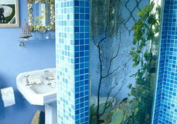 Modern Wall Mounted Aquarium In Bathroom Idea