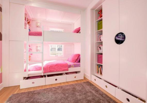 Contemporary Kids Room With Pink Furniture Ideas For Home Inspiration