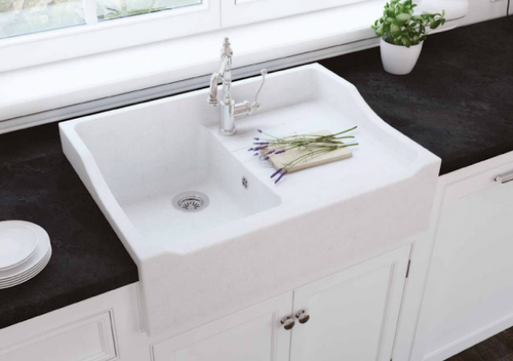 Porcelain Farmhouse Sink For Your Black And White Kitchen