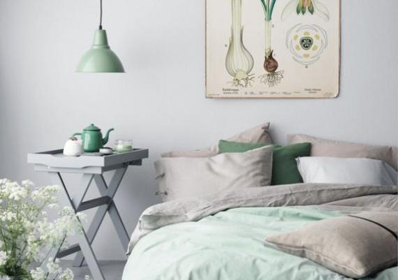 Green Scandinavian Bedroom Design Idea