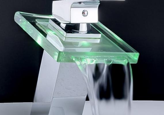 Stunningly Beautiful Modern Bathroom Faucet With Green Light