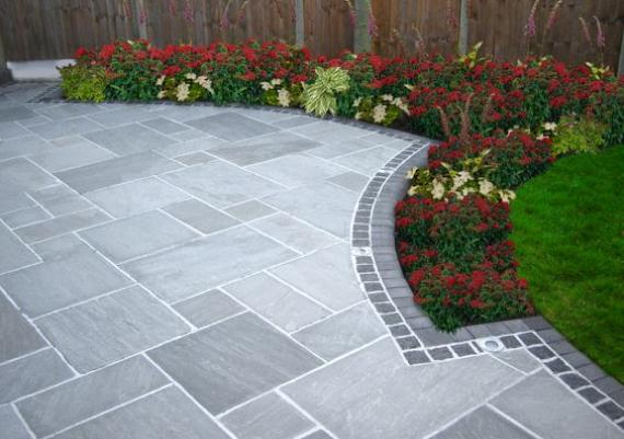 Amazing Stone Grey Sandstone Patio Outdoors Design Idea