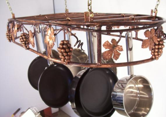 Attachments Grapevine Hanging Oval Cookware Pot Rack Black