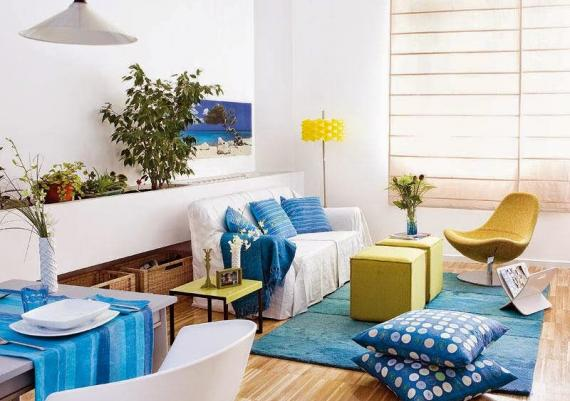 Beautiful Blue And Yellow Living Room For Your Home