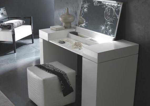 Beautiful Modern White Vanity Table And Chair For Bedroom