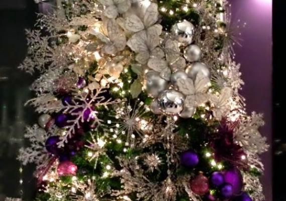 Beautiful Purple And Silver Christmas Tree Idea