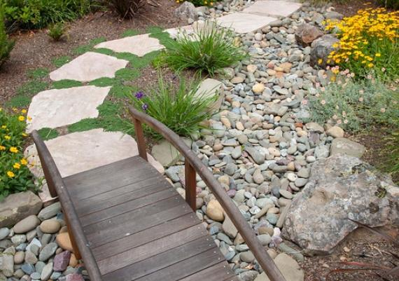Beautiful Water-saving Dry Creek Bed In The Front Yard
