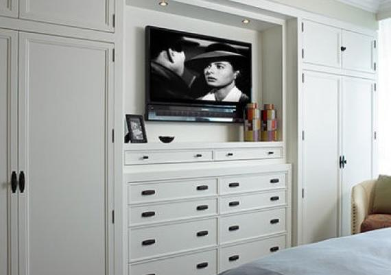 Bedroom TV Led Panel Designed In Wardrobe