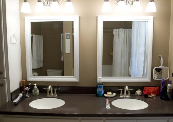 Beige Wall Framed Mirrors For Bathroom