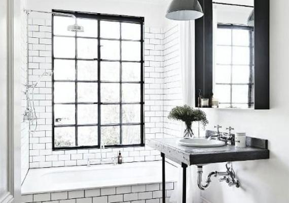 Black And White Small Industrial Bathroom Idea