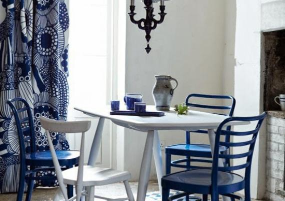 Blue And White Modern With Rustic Accents Dining Room